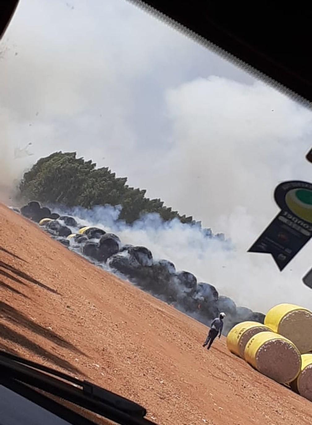 Fardos de algodão já colhidos foram destruídos pelo fogo — Foto: Divulgação