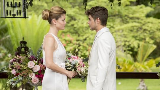 Alinne Moraes e Rafael Vitti mostram bastidores do quase casamento de Diana e Léo