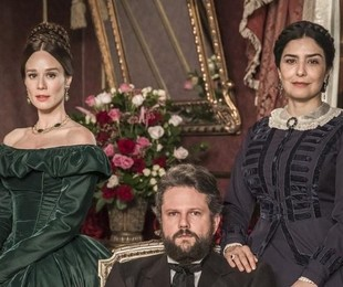 Mariana Ximenes, Selton Mello e Leticia Sabatella, protagonistas de 'Nos tempos do imperador' | João Miguel Jr./Globo