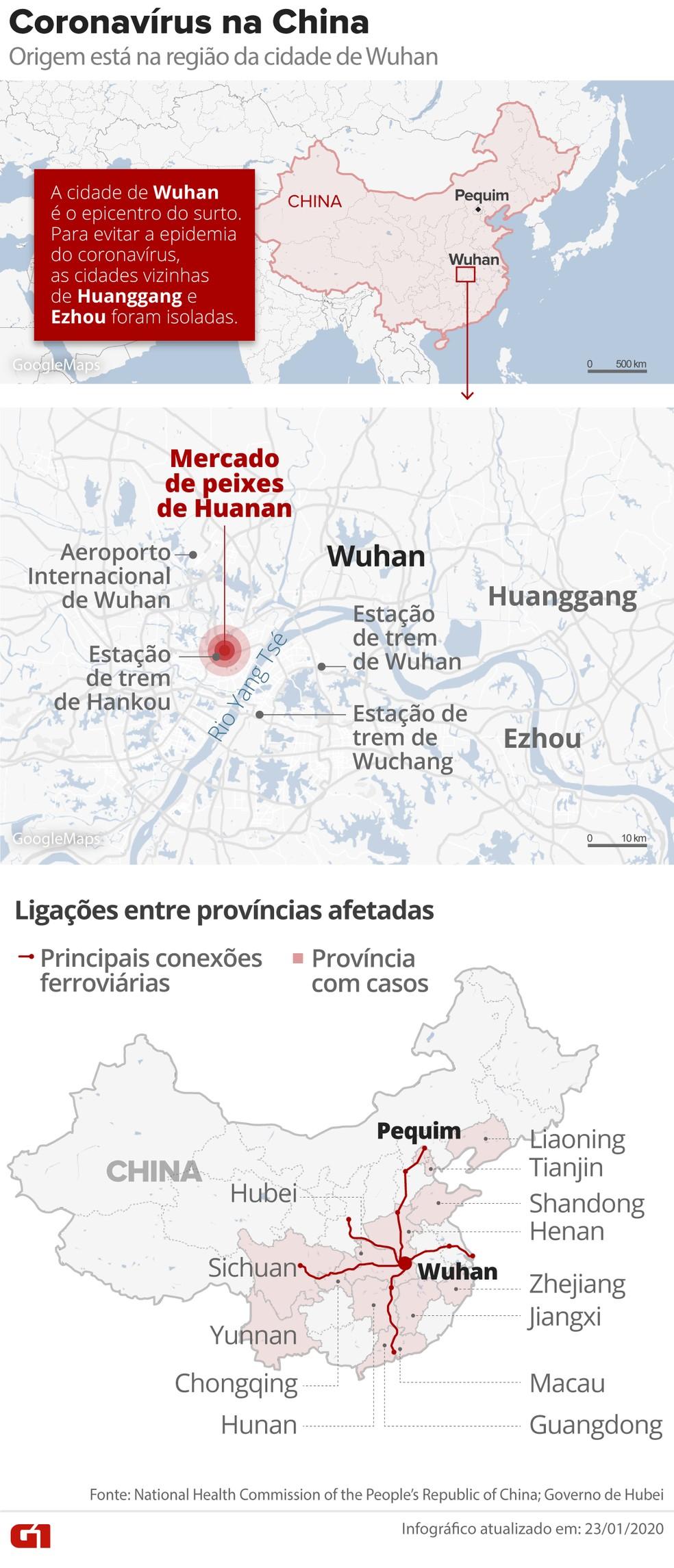 Situação do coronavírus na China — Foto: Guilherme Luiz Pinheiro/Arte G1
