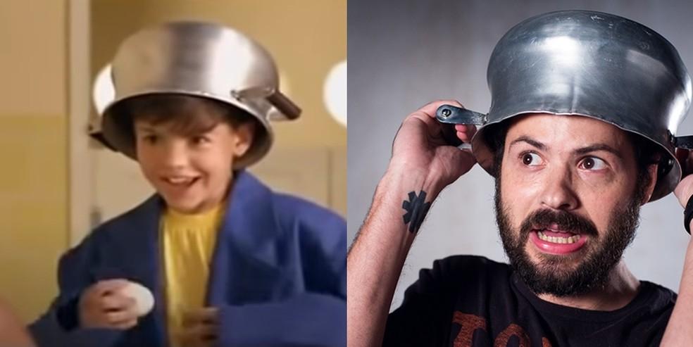 O ator Samuel Costa que interpretou o Menino Maluquinho em imagem do filme lanado em 1995 e em 2020 Foto Reproduo esquerda e arquivo pessoal direita