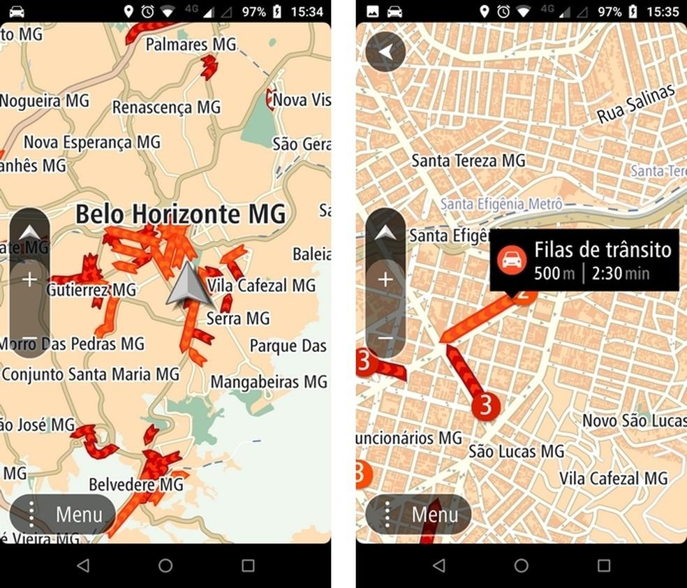 TomTom GO Brasil mostra comprimento e duração das filas de trânsito — Foto: Reprodução/Raquel Freire