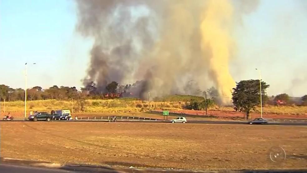 Fumaça se espalhou por toda a cidade  (Foto: Reprodução/TV Tem)