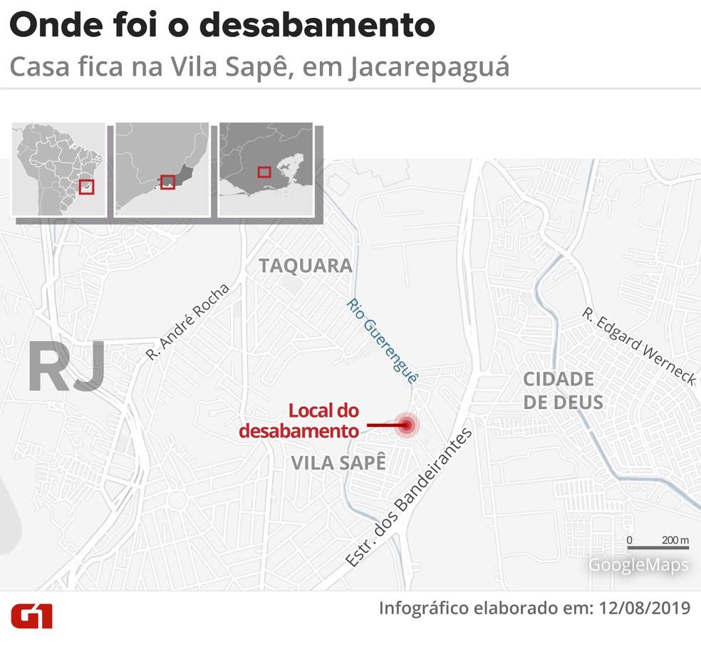 Mapa mostra onde a casa veio abaixo — Foto: Infografia: Juliane Monteiro/G1