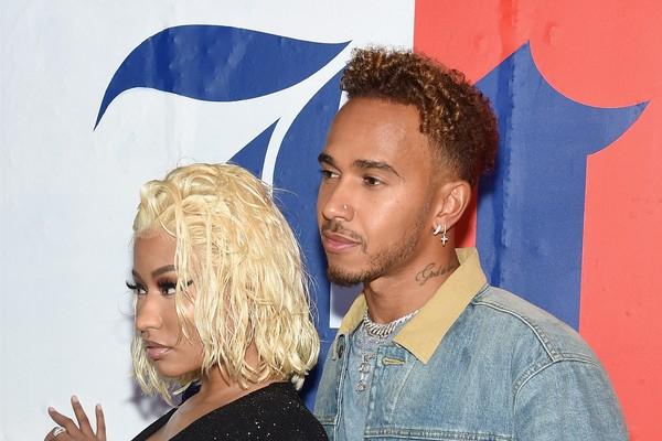 Nicki Minaj e Lewis Hamilton em evento de moda em Nova York (Foto: Getty Images)