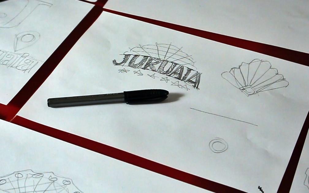 Desenho mostra processo de criação da nova marca de Juruaia — Foto: GMinas / Produtora Audiovisual