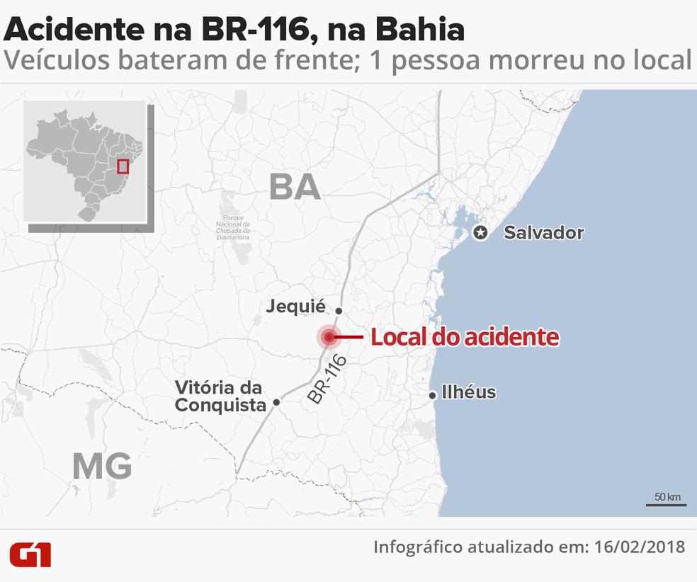 Acidente ocorreu no KM-719 da BR-116 (Foto: Infográfico: Igor Estrella)