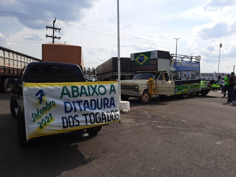 Cacoal (RO): Protesto a favor de Bolsonaro foi registrado no feriado de 7 de setembro — Foto: Matheus Afonso/Rede Amazônica