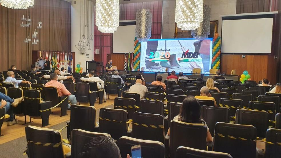 Convenção do MDB em São Paulo, realizada na Câmara Municipal de São Paulo nesta sexta-feira (11).  — Foto: Marina Pinhoni/G1
