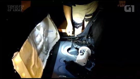 PRF suspeita do nervosismo de motoristas e encontra crack e cocaína escondidos em tanques de combustível
