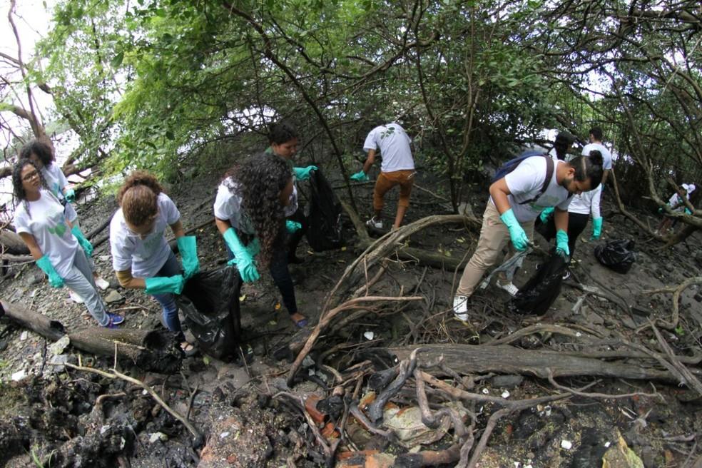 Voluntários retiraram lixo da margem do Rio Capibaribe, no Recife (Foto: Marlon Costa/Pernambuco Press)
