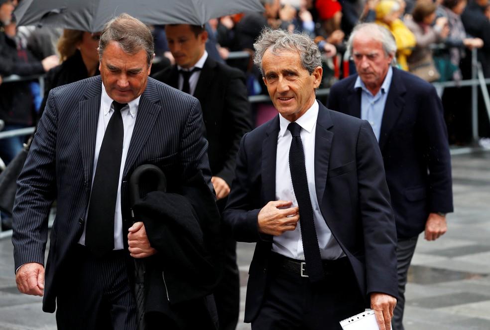 Nigel Mansell e Alain Prost compareceram ao funeral de Niki Lauda — Foto: Reuters