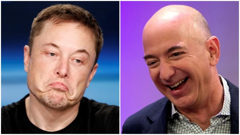 Jeff Bezos  e Elon Musk são os dois homens mais ricos do mundo, segundo ranking da Forbes — Foto: Reuters