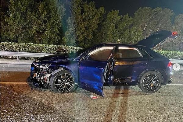 Registro do acidente de carro envolvendo o rapper Tafia (Foto: Instagram)