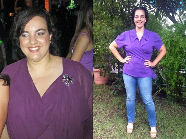 A publicitária teve dificuldades para se acostumar com o novo corpo e com a imagem que via no espelho; fotos mostram Roberta antes e depois de emagrecer (Foto: Arquivo pessoal)