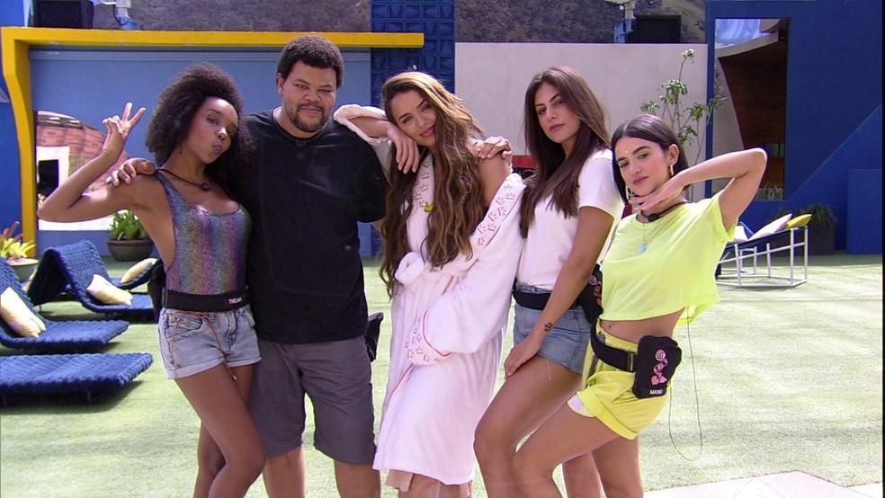Thelma, Babu, Rafa, Mari e Manu foram os cinco primeiros colocados do 'BBB20' — Foto: Reprodução/TV Globo