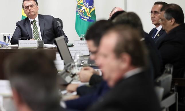 Bolsonaro em reunião com governadores da Amazônia