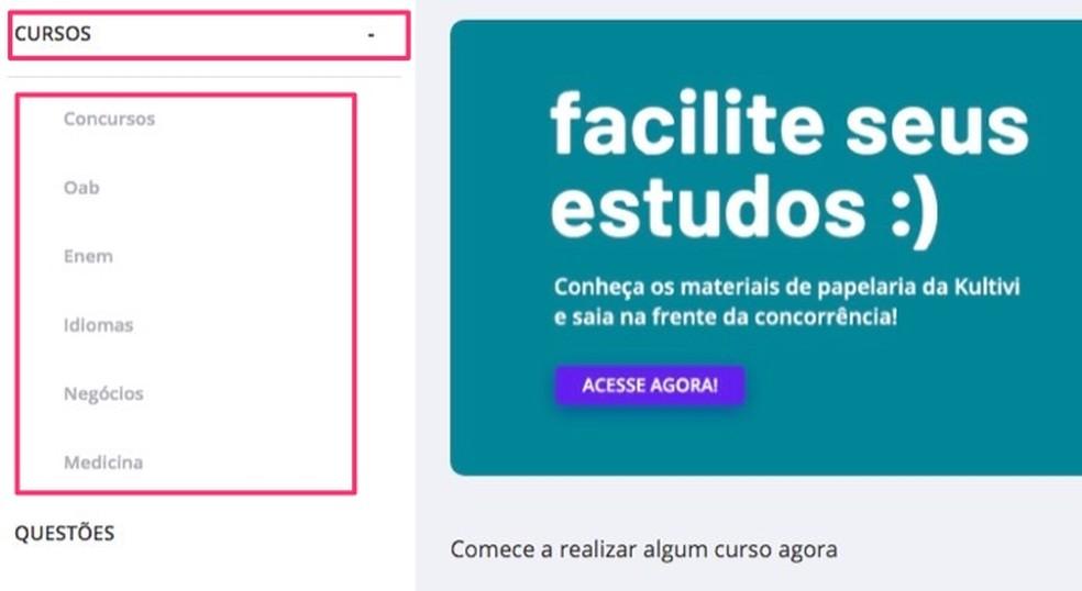 Tela com os temas dos cursos do site Kultivi — Foto: Reprodução/Marvin Costa