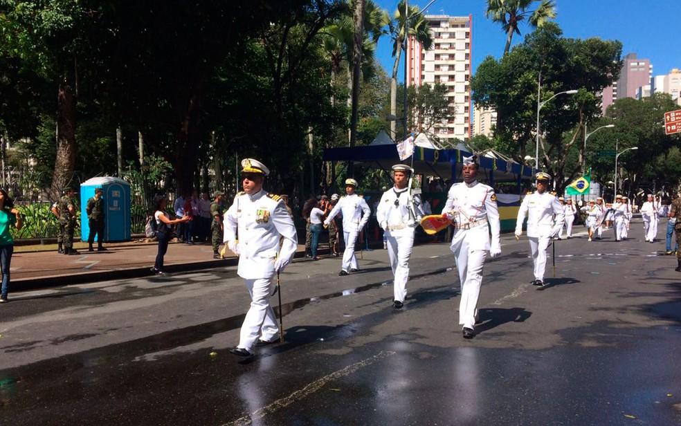 Marinha também desfila no 7 de setembro (Foto: Henrique Mendes/G1)