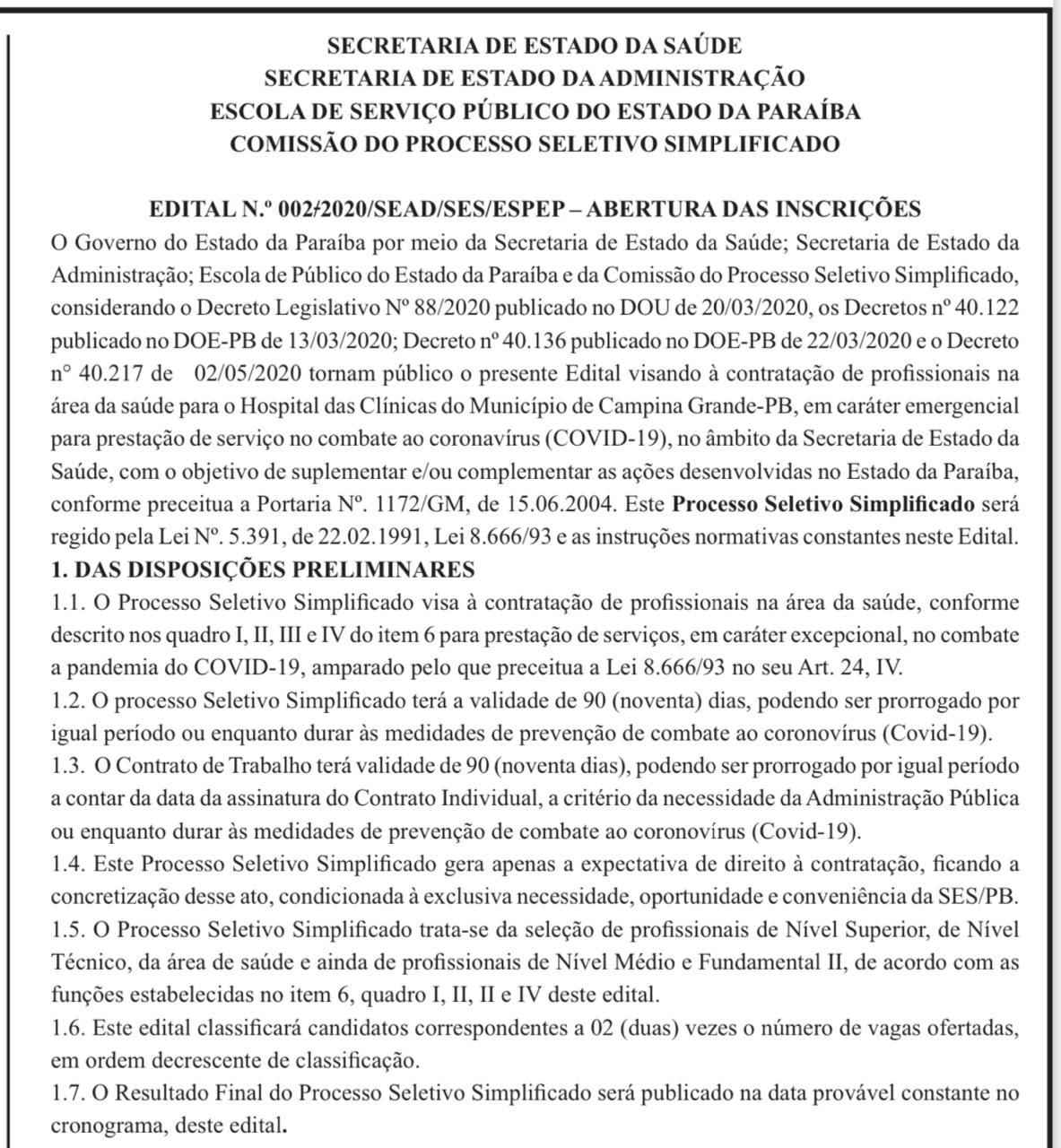 Seleção com mais de 400 vagas para profissionais de saúde em Campina Grande abre inscrições