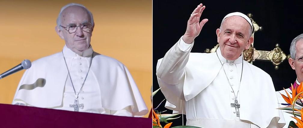 Jonathan Pryce, em 'Dois papas', e o Papa Francisco — Foto: Reprodução e Yara Nardi/Reuters