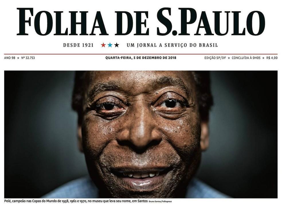 Capa do jornal Folha de São Paulo com entrevista de Pelé — Foto: Reprodução