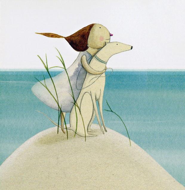 Vai e vem de emoções | Na poesia da praia deserta, uma menina brinca com Areia, sua cachorra da cor das dunas. Ela quer entrar no mar, a amiga de quatro patas não pode. Mas a garota insiste e solta a coleira, desafiando o conselho de sua tia. Areia foge e (Foto: Reprodução)