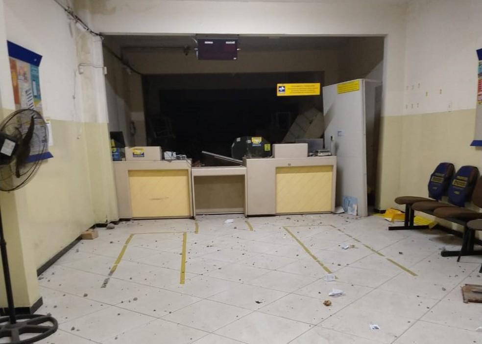 Agência dos Correios foi explodida e assaltada em Lagoa Seca, na Paraíba — Foto: Polícia Civil/Divulgação