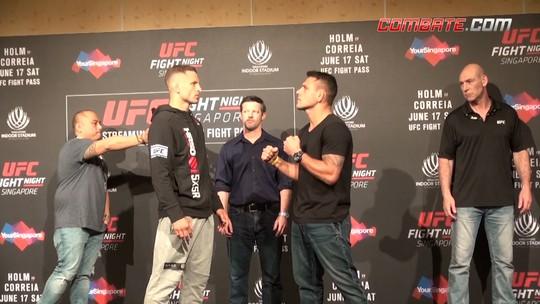"""""""Media day"""" do UFC Singapura tem encaradas duras, mas respeitosas"""
