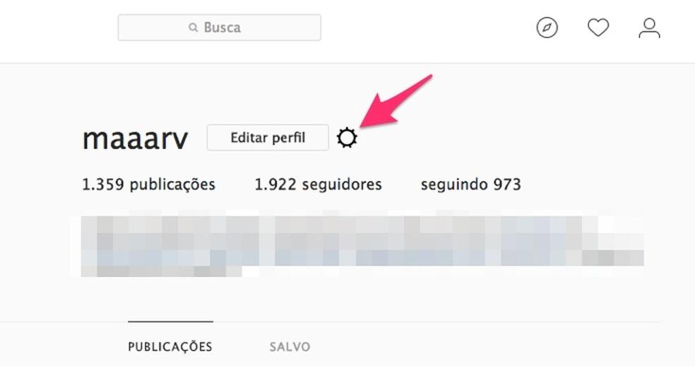 Acão para acessar as configurações de uma conta do Instagram na web (Foto: Reprodução/Marvin Costa)