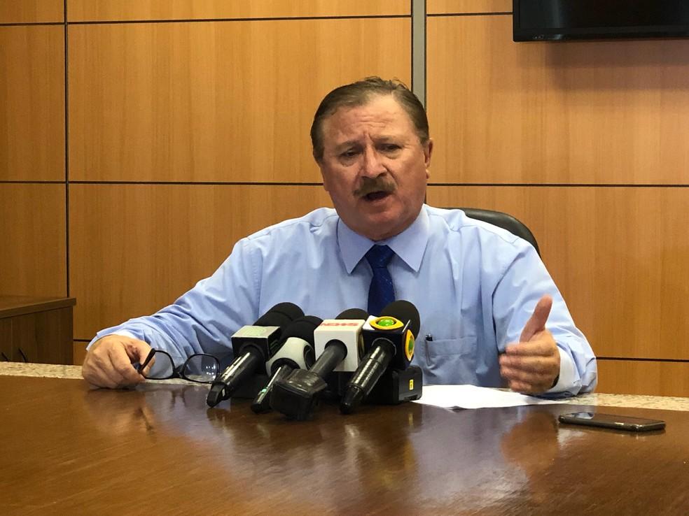 O secretário Nabhan Garcia deu entrevista coletiva no Ministério da Agricultura — Foto: Luciana Albuquerque/TV Globo