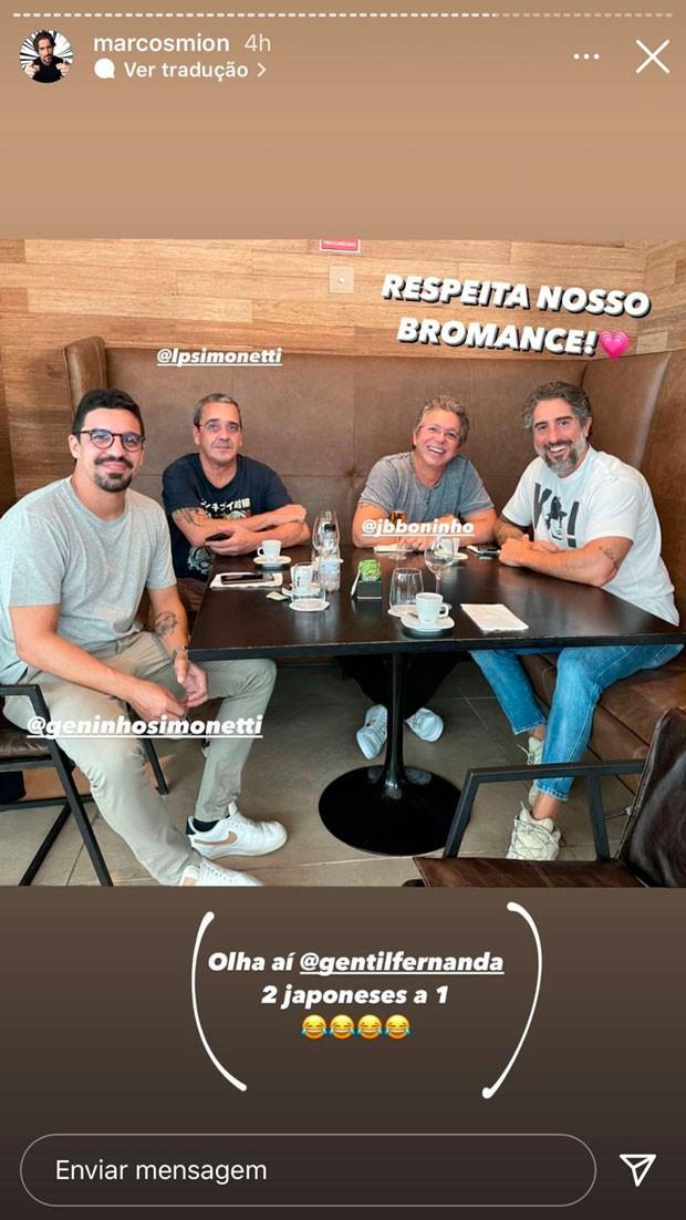Boninho e Marcos Mion vão a restaurante juntos (Foto: Reprodução/Instagram)
