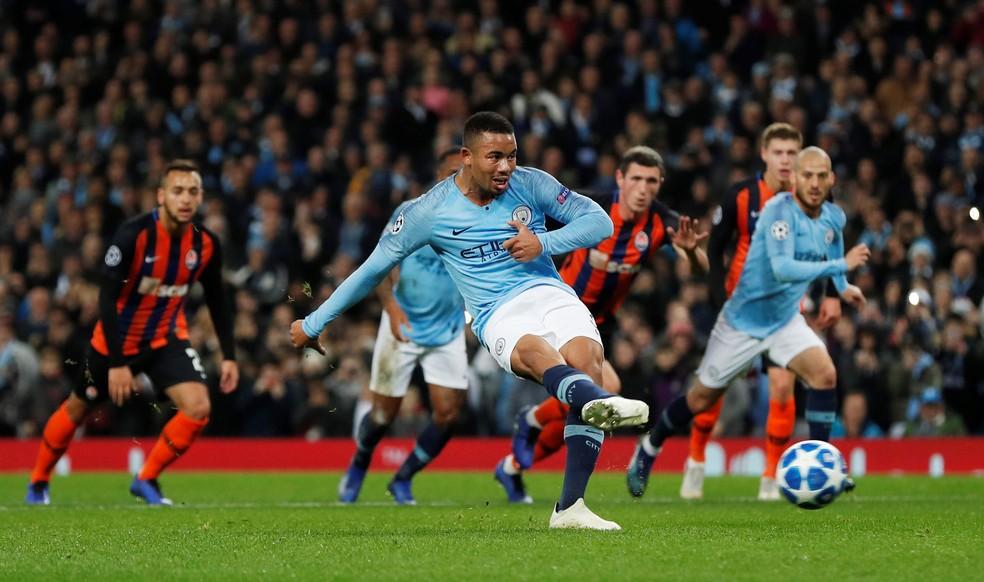Gabriel Jesus brilhou nos últimos confrontos entre Manchester City e Shakhtar — Foto: Reuters