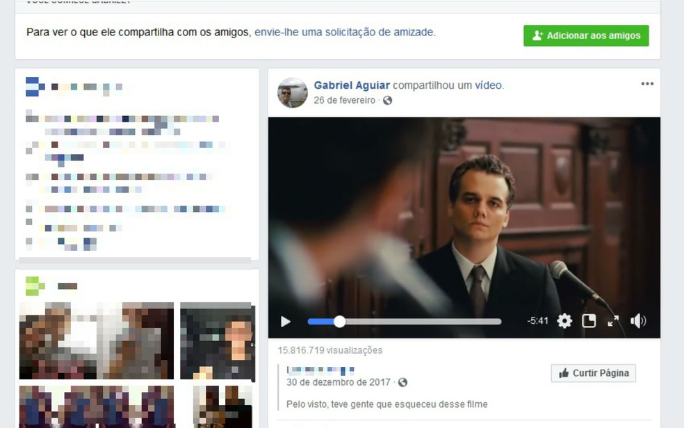 Jovem compartilhou vídeo com crítica a violência (Foto: Reprodução/Facebook)