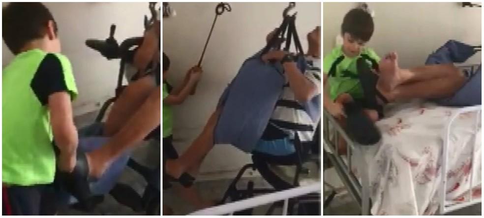 Menino de 6 anos cuida do avô de 75 em Santa Gertrudes (Foto: Reprodução/ Facebook)