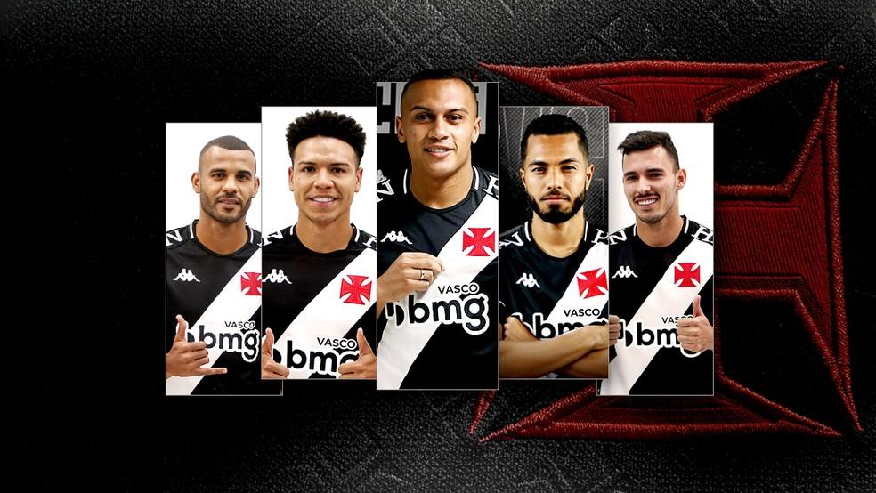 Ernando, Marquinhos Gabriel, Léo Jabá, Morato e Zeca são os reforços do Vasco — Foto: Editoria de arte/ge