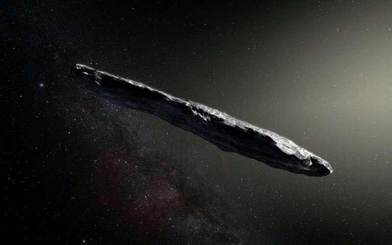 Impressão artística de Oumuamua, primeiro objeto a entrar no Sistema Solar (Foto: European Southern Observatory)