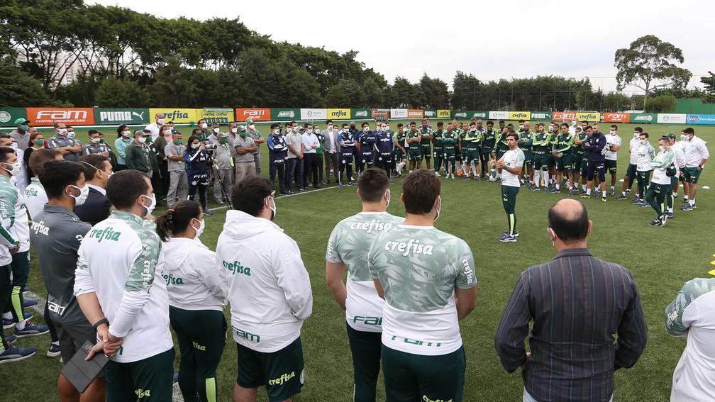 Abel Ferreira se apresentou para funcionários e jogadores do Palmeiras — Foto: Cesar Greco / Ag. Palmeiras