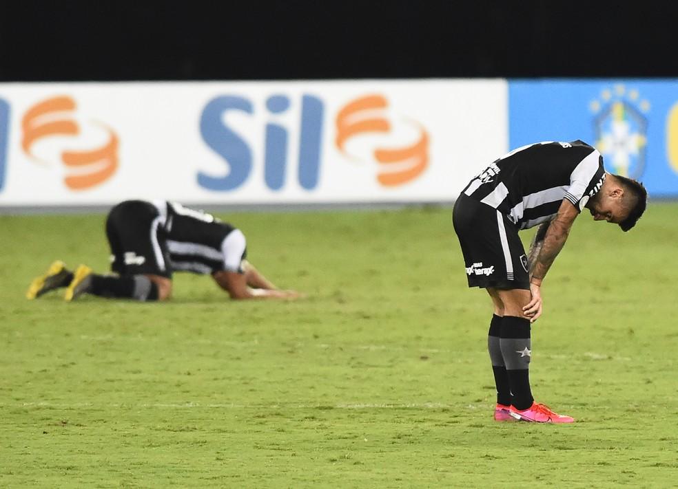 Jogadores do Botafogo ficaram desolados com a derrota em casa para o Bragantino — Foto: André Durão/ge