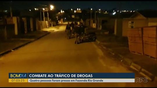 Quatro pessoas são presas na Região de Curitiba em operação contra o tráfico de drogas