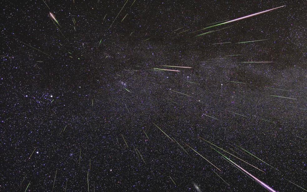 Perseidas iluminam o céu em agosto de 2009  (Foto: Nasa/JLP)