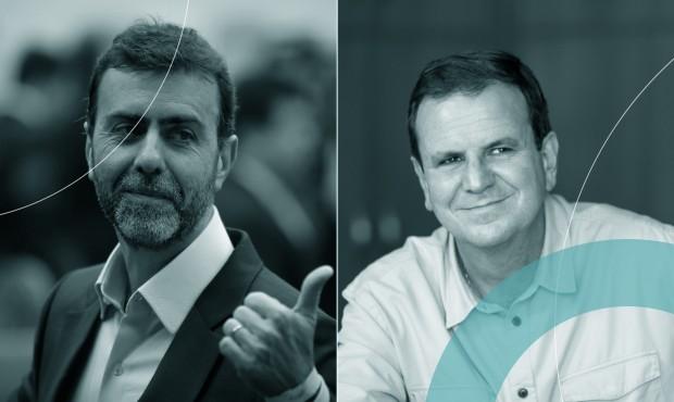 O prefeito Eduardo Paes e o deputado federal Marcelo Freixo