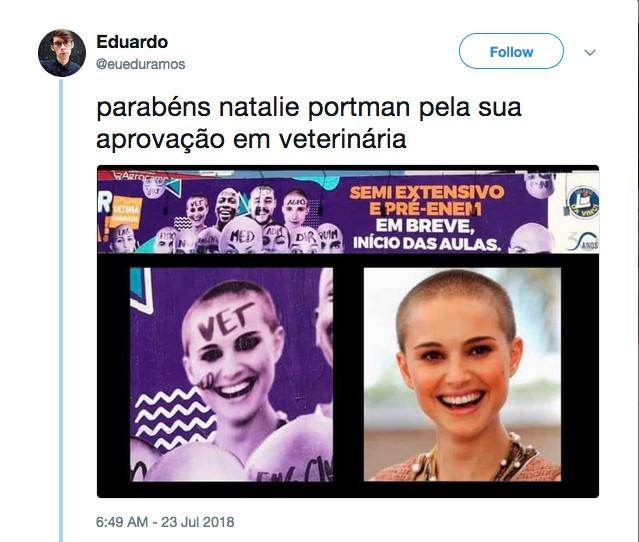 Um usuário das redes sociais fazendo piada com o anúncio com a presença de Natalie Portman (Foto: Twitter)