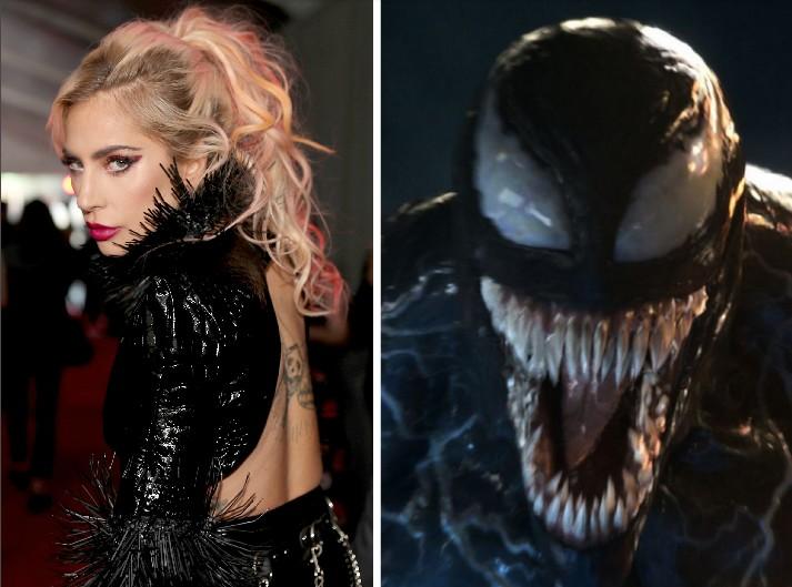 A cantora Lady Gaga e o personagem Venom (Foto: Getty Images/Reprodução)