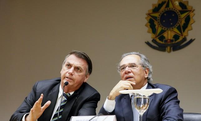 Jair Bolsonaro e Paulo Guedes no Ministro da Economia