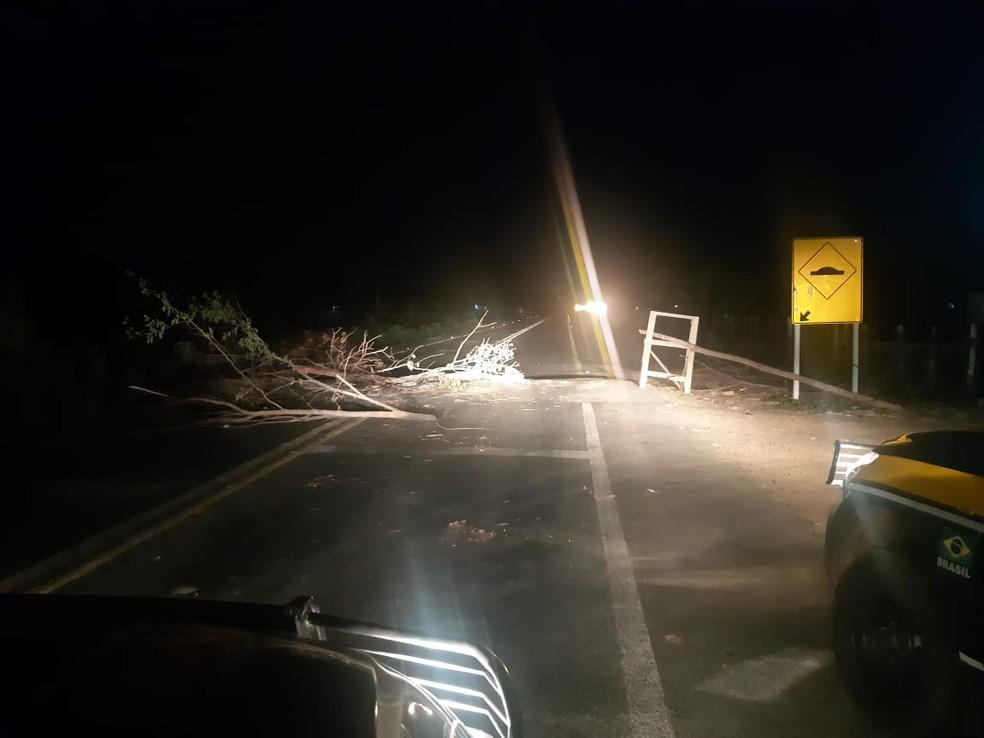 BR-226 entre as aldeias Boa Vista e El Betel segue bloqueada após atentado a índios Guajajaras no Maranhão. — Foto: Divulgação/Polícia Rodoviária Federal do Maranhão (PRF-MA)