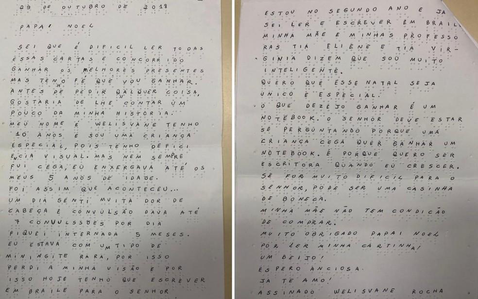 Carta escrita em braile pela estudante Welisvane Rocha Lima, que pediu ao Papai Noel um notebook para se tornar escritora — Foto: Reprodução/TV Anhanguera