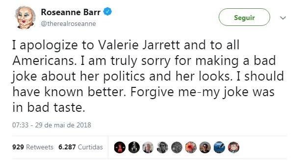 O tweet de Roseanne Barr se desculpando pelo comentário racista (Foto: Reprodução Twitter)