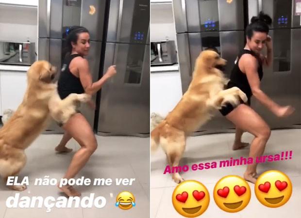 Scheila Carvalho dança com a sua cachorro  (Foto: Reprodução)