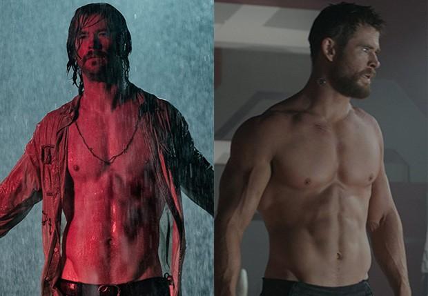 Chris Hemsworth em Maus Momentos no Hotel Royale e em Thor: Ragnarok (Foto:  Kimberley French e Disney/Marvel)
